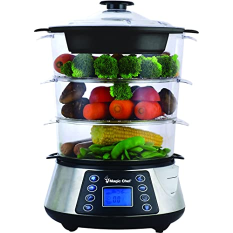 Stainless Steel Electric Food Steamer Vegetable Meat Rice Cooker 4 Quart 2 Tray