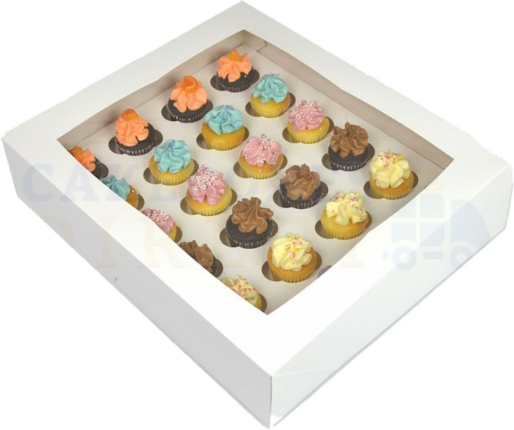 Premium Mini Cupcake Box for 24 Cupcakes with Window and Divider  FIVE PACK1ST Cake Boxes & Bags