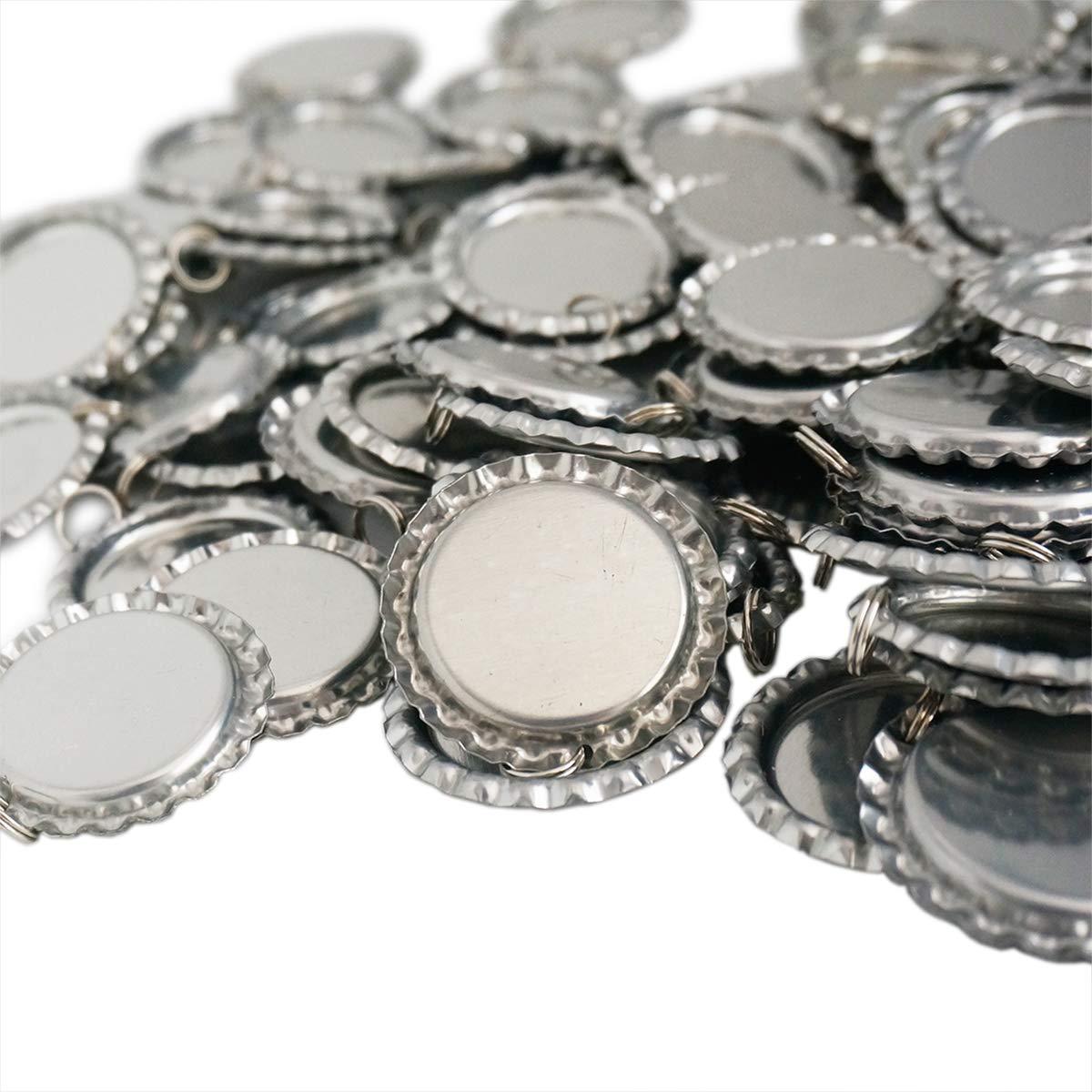 100 Pieces Flattened Bottle caps Double Sided, Wholesale Bottle Caps Caps with Split Ring, Silver Bottle Caps Crafts Pendants, Necklaces, Jewelry QG-Bottle caps