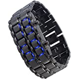 MONTRE BLACK LED BLEU BRACELET ACIER DESIGN SAMOURAI