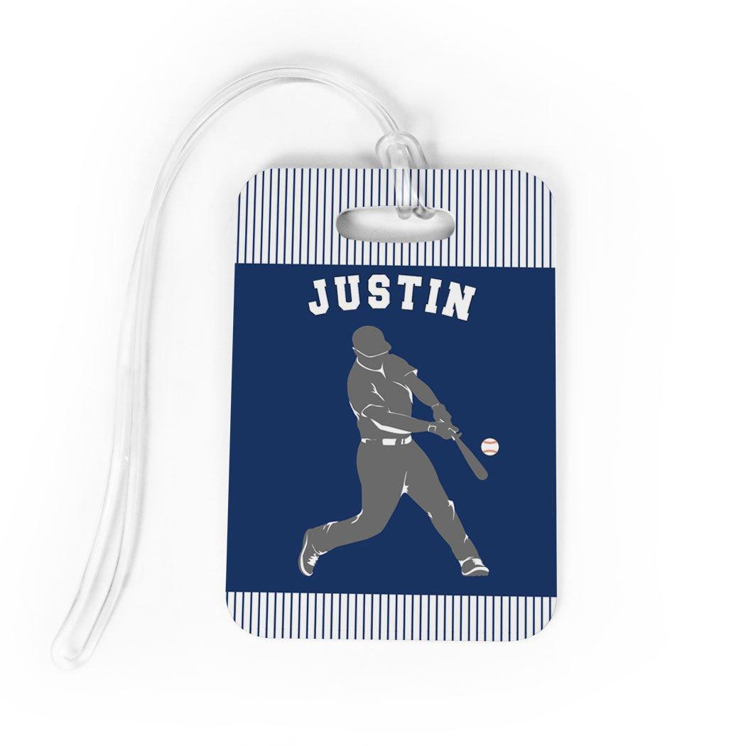 Baseball Luggage & Bag Tag | Personalized Name Baseball Player Batter | Standard Lines on Back | MEDIUM | NAVY/GRAY