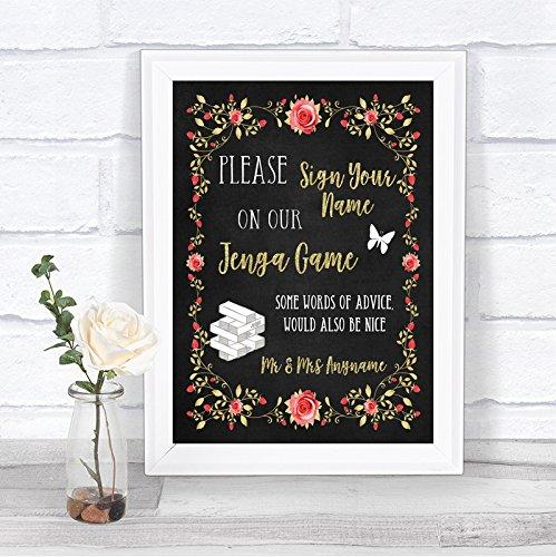 Chalk Style Blush Pink Rose & Gold Jenga Guest Book Personalized Wedding Sign