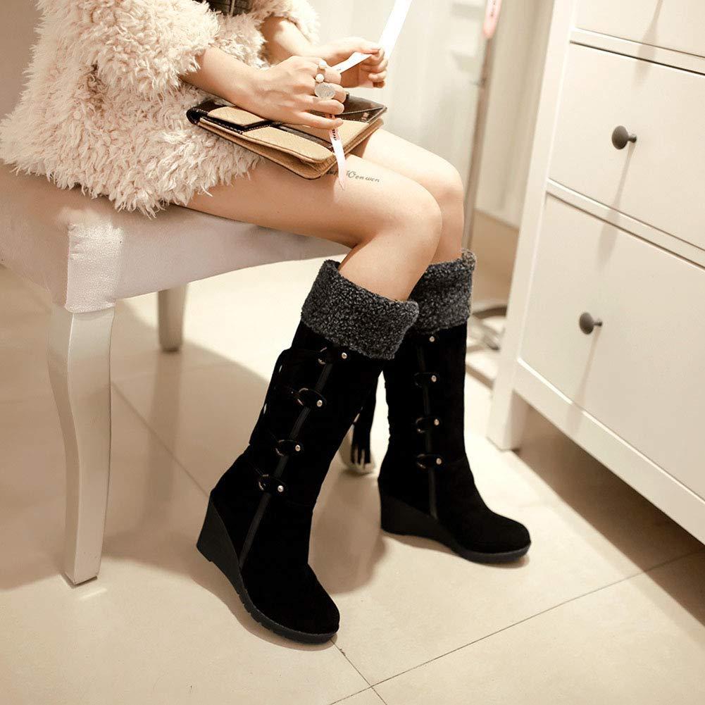 Nicht-Lip Knee Knee Knee High Wedges Stiefel Frauen Winter flach Plus Velvet Thick Medium Long Warm Snow Stiefel für Outdoor-Wandern 0ebc97