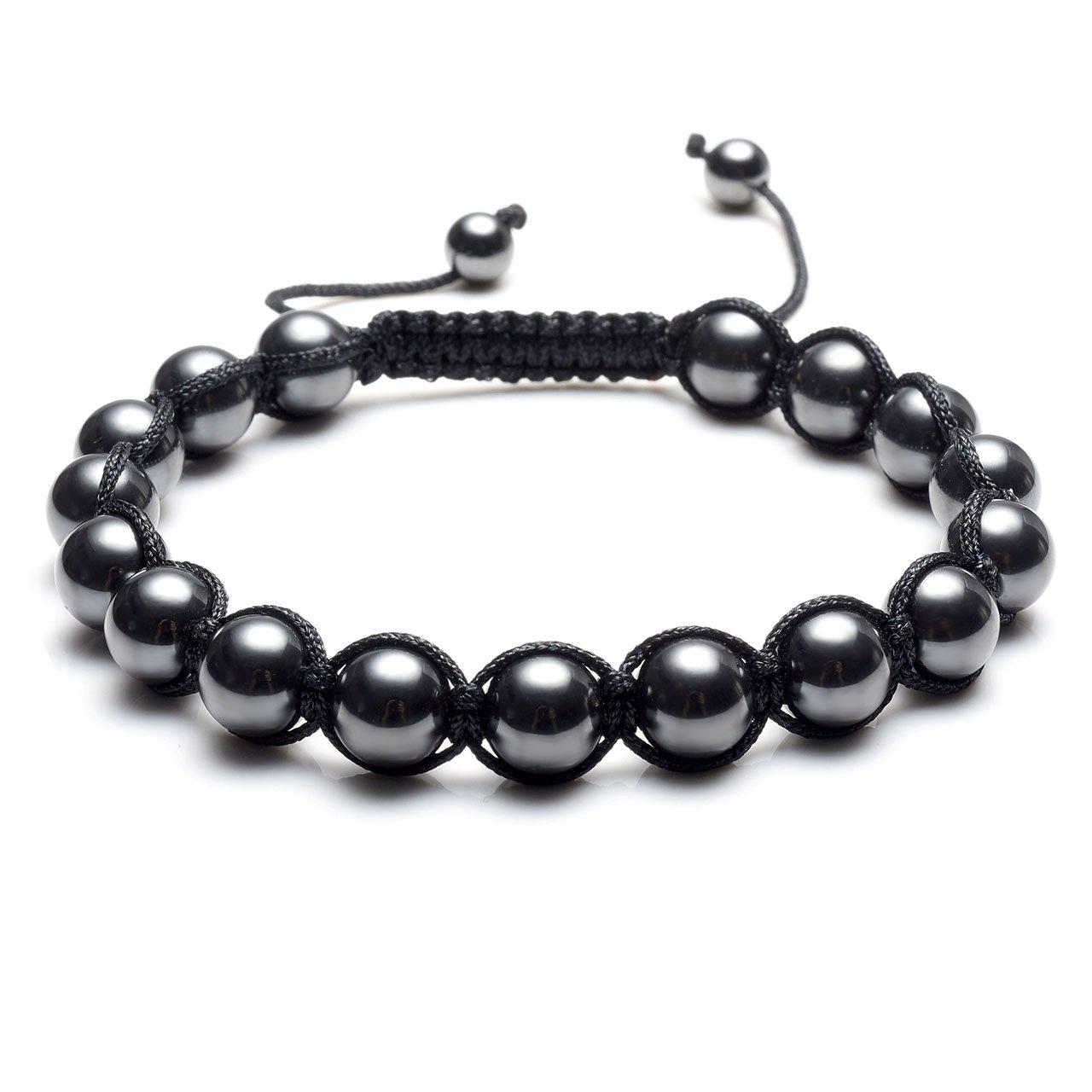 067c646cf2ac1 Top Plaza Men Women Reiki Healing Energy Natural Tiger Eye Stone Magnetic  Hematite Therapy Beads Macrame Adjustable Braided Link Bracelet