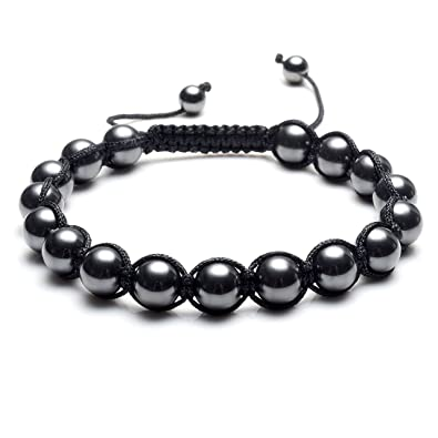 3ff7e83eb Top Plaza Men's Women's Reiki Healing Energy Natural Tiger Eye Stone  Magnetic Hematite Therapy Beads Macrame