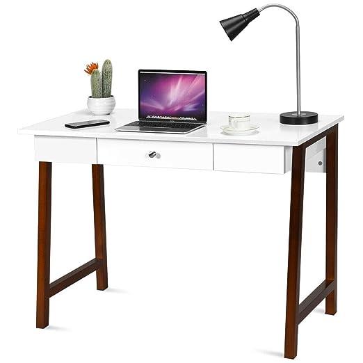 Tangkula Escritorio y tocador, mesa multifuncional con cajón ...