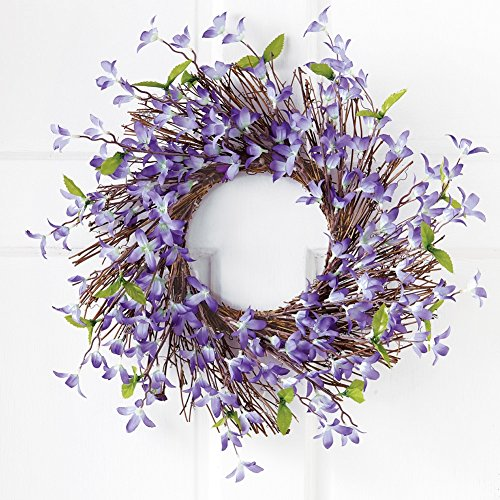 Spring Floral Forsythia Twig Wreath, Lavender