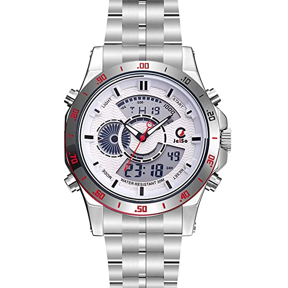 JeiSo - Reloj Deportivo de Pulsera para Hombre Led Digital Multifuncional con Doble Horario Alarma Cronógrafo Luz Impermeable - Blanco: Amazon.es: Relojes