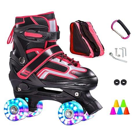 ZCRFY Patines En Línea Niños Roller Skates Doble Fila 4 Rueda Zapatos Deslizantes Patinaje Cuádruple Ajustable