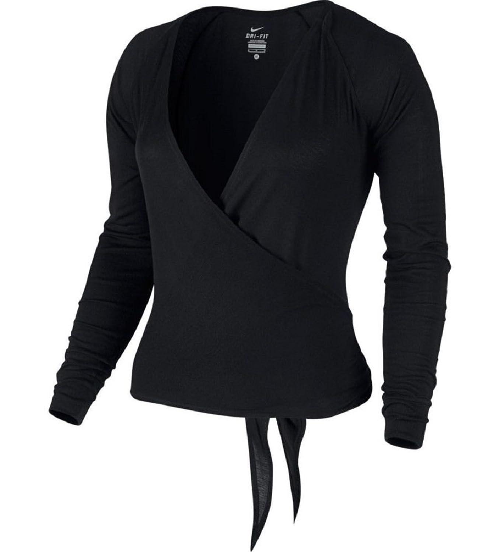 Amazon.com: Nike Dance Women's Black Ballet Wrap Cardigan Tie Top ...