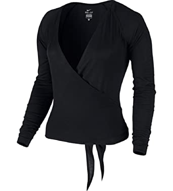 Amazon.com: Nike Dance Women's Black Ballet Wrap Cardigan Tie Top ...