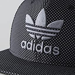 adidas Men\'s Originals Snapback Flat Brim Cap, Black/Grey, One Size