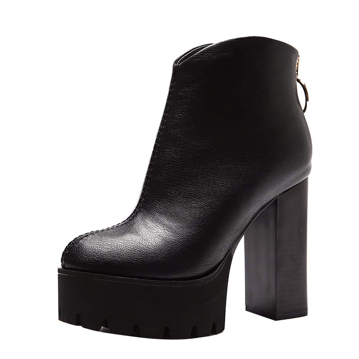 KPHY Damenschuhe Einfache Modisch Modisch Modisch 12 cm Heel Stiefel 100 Sätze Dicke Schuhe Wasserdichte Plattform Samt Runden Kopf Martin Stiefel c32aea