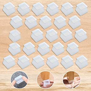 Furniture Silicon Protection Cover(32PCS),CAMTOA Square Furniture Table Feet Cover Anti-Slip Bottom Chair Leg Caps Floor Protector Furniture Leg Protectors Prevents Scratches and Noise