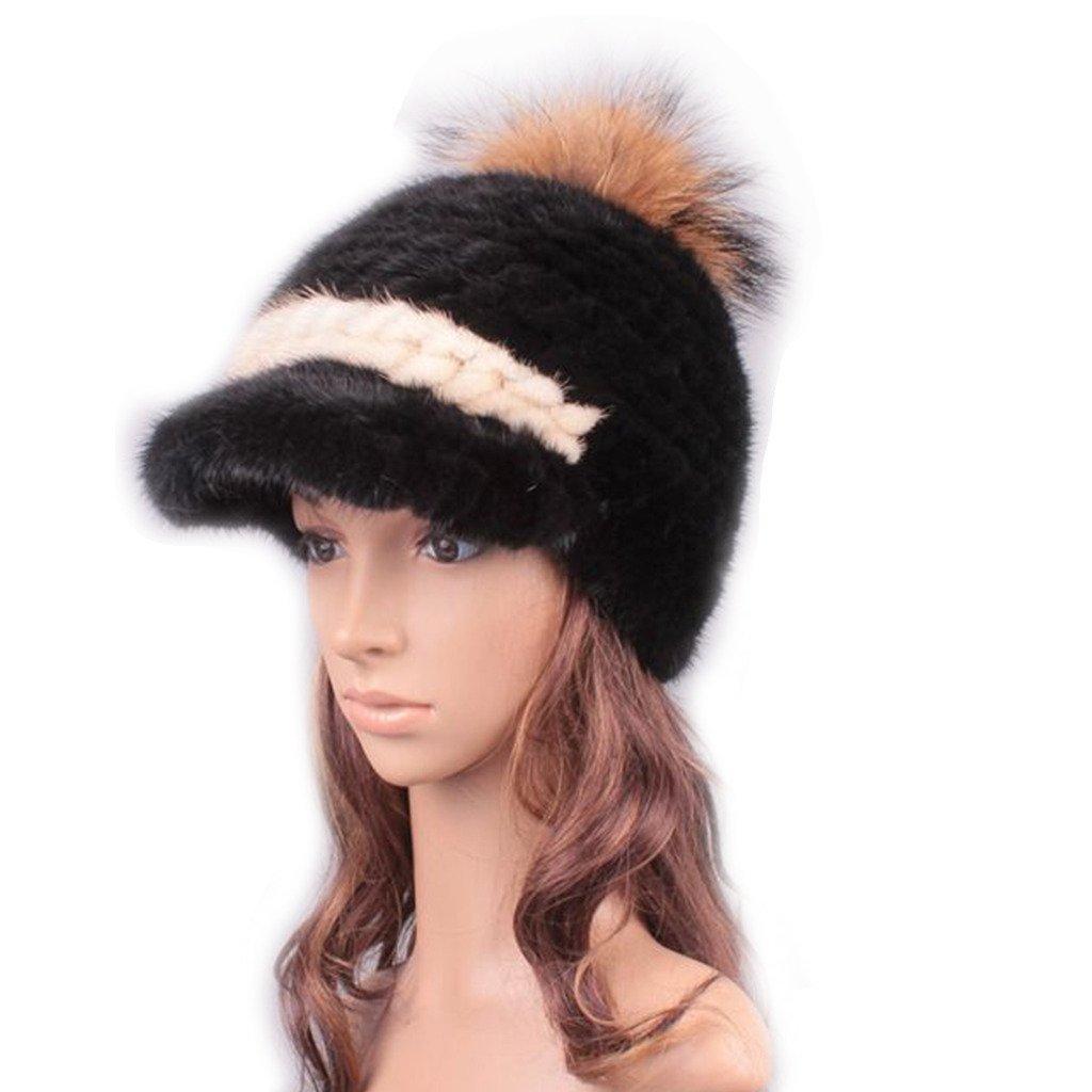 UK.GREIFF Women's Fashion Warm Stretch Mink Fur Newsboy Caps Winter Hat Beige