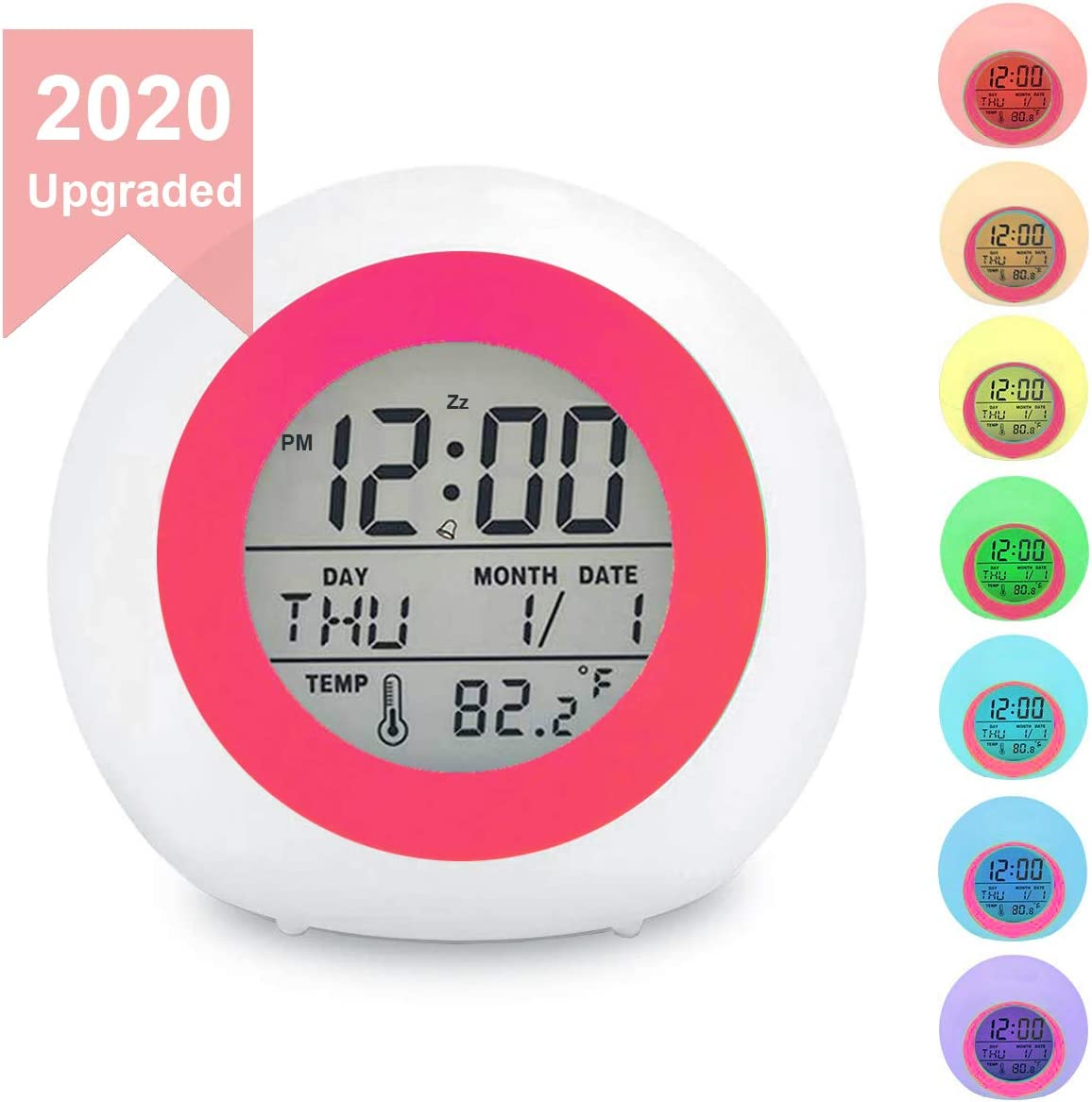 Kids Digital Alarm Clock, 7 Color Night Light, Snooze, Temperature Detect for Toddler, Children Boys and Girls, Students to Wake up at Bedroom, Bedside, Batteries Operated RED