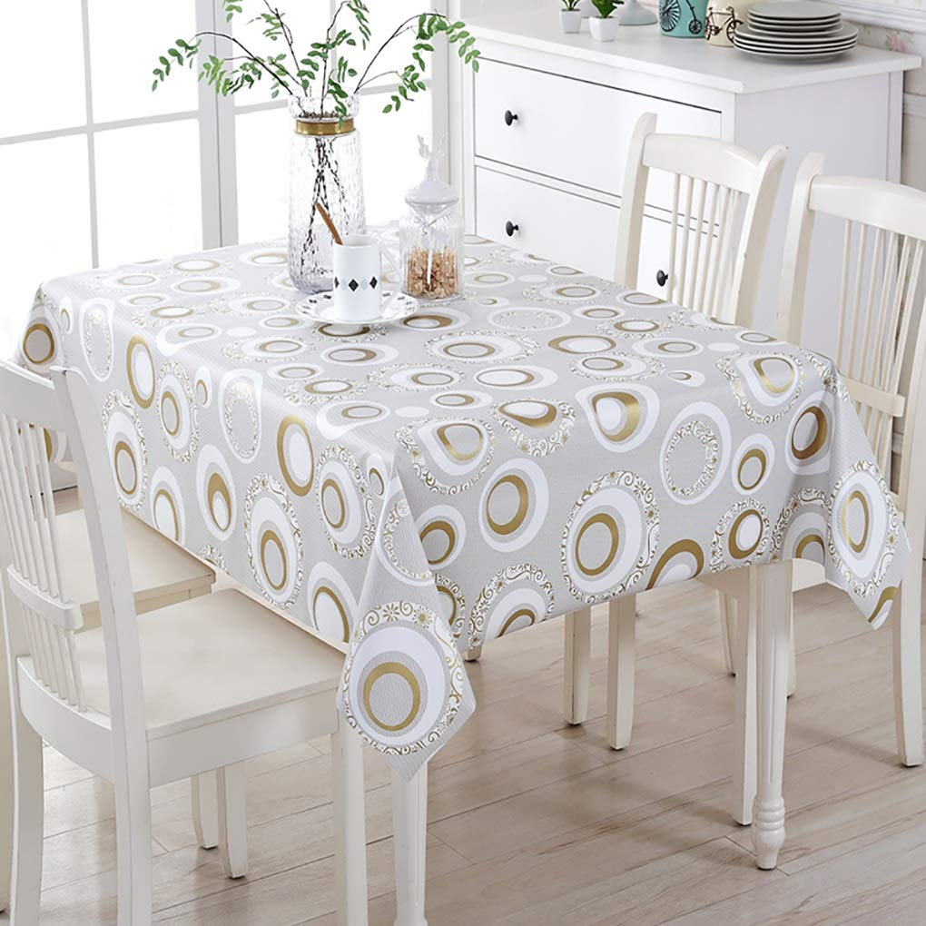 RectangleWaterproof Table ClothPVC Floral Prin Table Linen Wrinkle-Resistant Fade Resistant Easter for Buffet Table Kitchen Room Dining Room Tables (Color : Gray, Size : 137100cm)