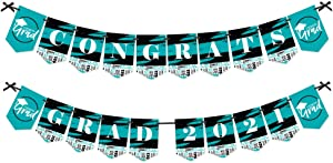 Big Dot of Happiness Teal Grad - Best is Yet to Come - Turquoise Graduation Party Bunting Banner - Party Decorations - Congrats Grad 2021