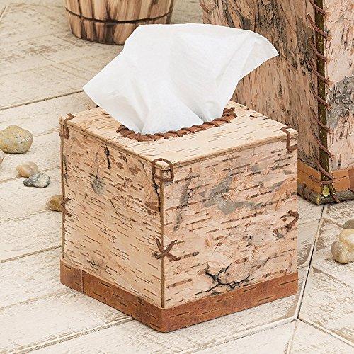 - Black Forest Decor Birch Bark Square Tissue Box