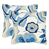 Safavieh PPL101A-2020-SET2 Collection Jacobean Floral Marine Indoor/Outdoor Throw Pillows (Set of 2), 20'' x 20'', Blue