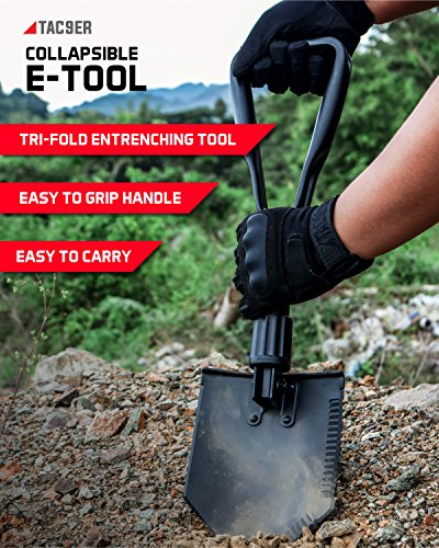 TAC9ER Collapsible E-Tool Shovel - Portable, Metal, Folding, Tactical Military Shovel with Serrated Steel Blade and Carrying Case for Camping, Backpacking, Gardening, and Survival by TAC9ER (Image #1)