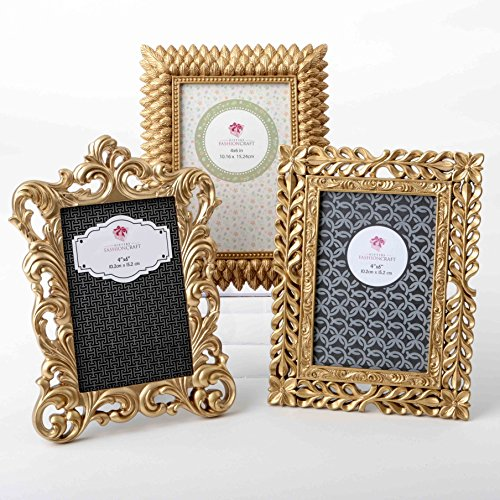 Gold Vintage Baroque Ornate Antique Picture Frames ~ Set of 3 Frames for 4 x 6 inch Photos~ Perfect for Wedding Vacation Graduation Or Any Milestone Photo