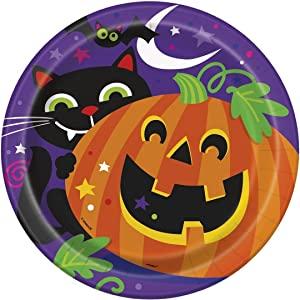 "Unique tableware Happy Halloween Dinner Party Paper Plates, 9"", 8 Ct, 9"", Orange/White"