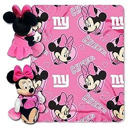 NFL New York Giants Minnie Cheerleader 40x50-Inch Throw with 14-Inch Hugger