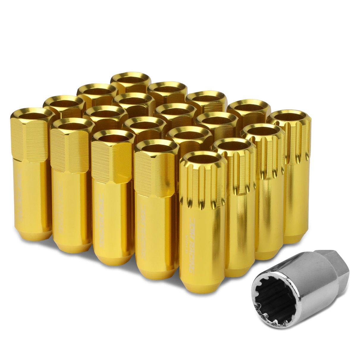 M12 x 1.25 Open End Design 16-Piece Aluminum Alloy Wheel Lug Nuts + 4 x Lock Nut + 1 x Lock Nut Key (Gold)