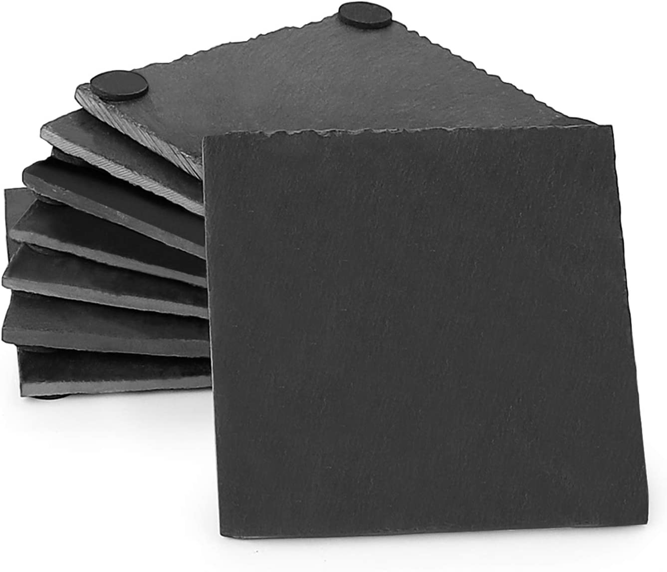 Sweese 240.101 Slate Coasters with 4 Velvet Backing for Drinks - 4 Inch - Set of 8, Square Stone