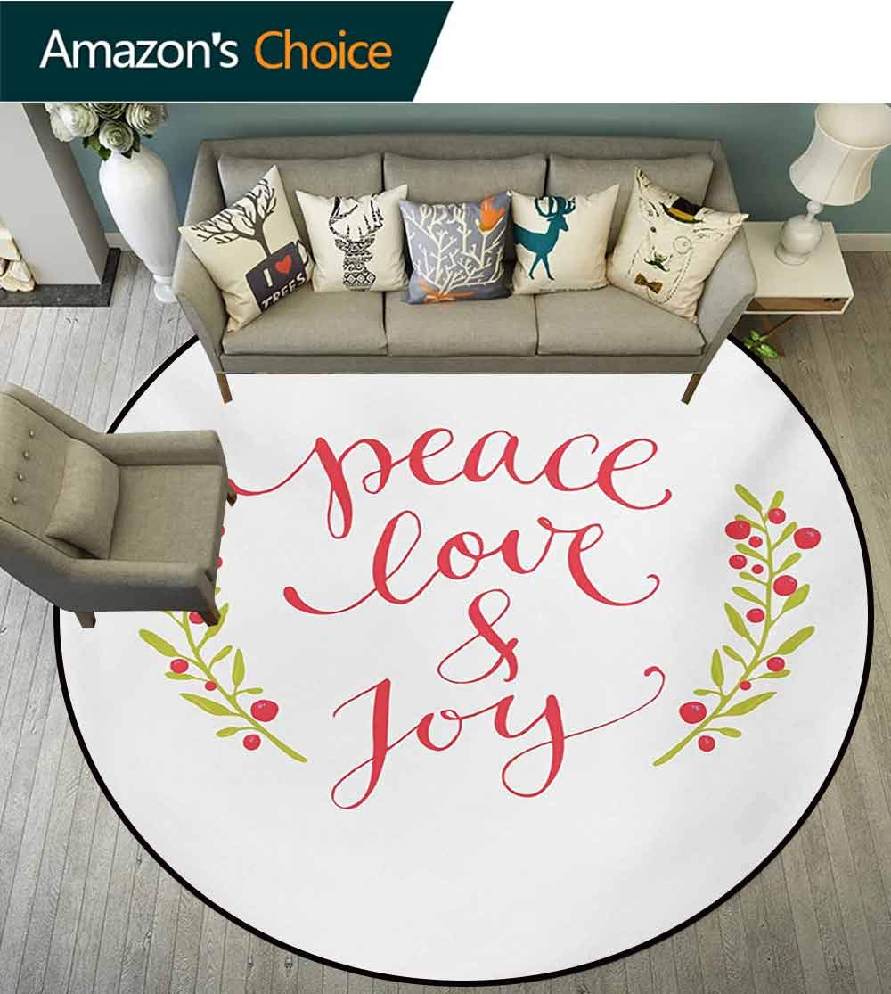 Quote Washable Creative Modern Round Rug,Peace Love And Joy Calligraphic Xmas Text With Winter Berries Wreath Coffee Table Mat Non-Skid Living Room Carpet,Round-51 Inch Dark Coral Yellow Green by RUGSMAT (Image #1)
