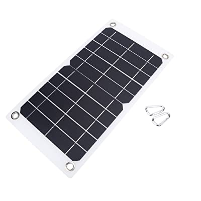 NUZAMAS Poartable 7.5W Solar Panel 5V USB Phone iPhone Charger Battery Free 2 Alloy Clips : Garden & Outdoor