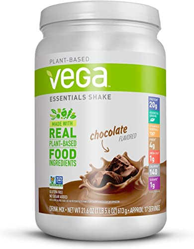 Vega Essentials Protein Powder, Chocolate, Plant Based Protein Powder Plus Vitamins, Minerals and Antioxidants - Vegan, Vegetarian, Keto-Friendly, Gluten Free, Dairy Free 17 Servings, 1lb 5.6oz