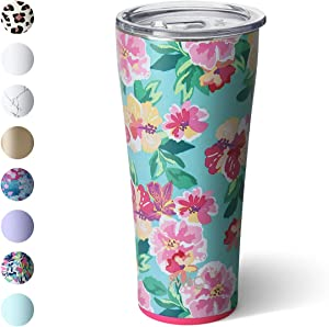 Swig Life 32oz Triple Insulated Stainless Steel Tumbler with Lid, Dishwasher Safe, Double Wall, and Vacuum Sealed Travel Coffee Tumbler in our Island Bloom Pattern (Multiple Patterns Available)