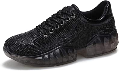 Diamonds Sneakers Round Toe Lace Up