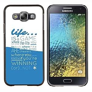 LECELL--Funda protectora / Cubierta / Piel For Samsung Galaxy E5 E500 -- La vida es un juego de la tipografía --