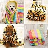 wanshenGyi Pet Blanket, Classic, Stylish, Hot, Practical, Tiger Skin Pattern Rainbow Soft Flannel Carpet Cat Dog Puppy Pet Blanket Mat - Rainbow S Home, Work, Travel Outside