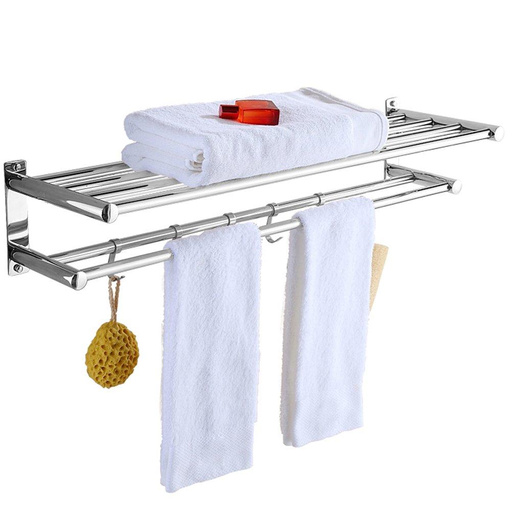 Spring Fever Stainless Steel Double Towel Bar wih Hooks, Bathroom Shelf, Bath Towel Holders Rack, Wall Mount, 27.5IN