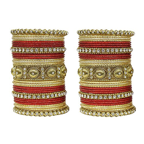 MUCH-MORE Indian Traditional Amazing Collection Multi Color Bangles for Womens (Red, 2.4) (Bangle Studded Diamond Bracelet)