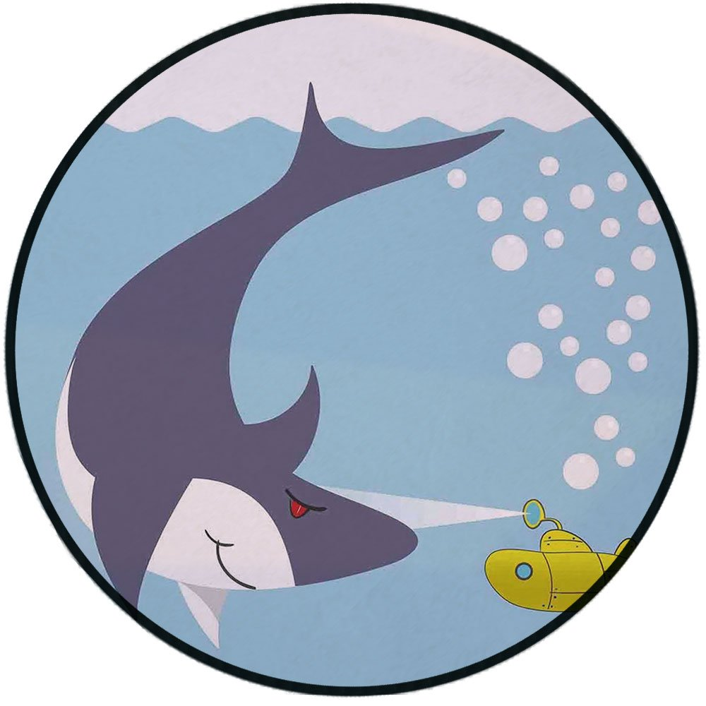 Printing Round Rug,Yellow Submarine,Shark with Vessel in Ocean Bubbles Under Sea Theme Animals Cartoon Mat Non-Slip Soft Entrance Mat Door Floor Rug Area Rug For Chair Living Room,Blue Gray Yellow