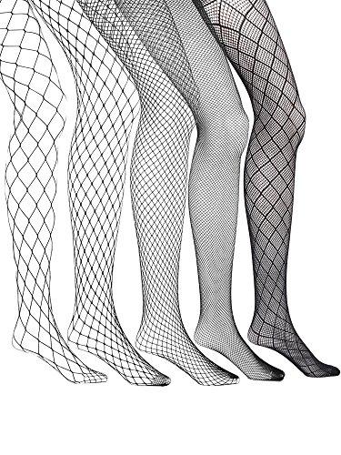 Hicarer 5 Pairs Fishnet Tights Stockings Fishnet Mesh Pantyhose High Waist Tight Stockings for Women Girls, Black -