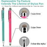 Stylus,TouchFine 3 in 1 Series Disc Stylus pen for Iphone X/8/,iPad 4 3 2 and all Capacitive Touch Screens,tablets with 4 Replaceable Disc Tips,4 Replaceable Fiber Tips-Pack-Hot Pink,Peacock Green
