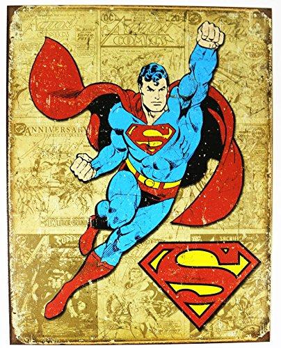 Superman Tin - Superman Weathered Panels Tin Sign 13 x 16in