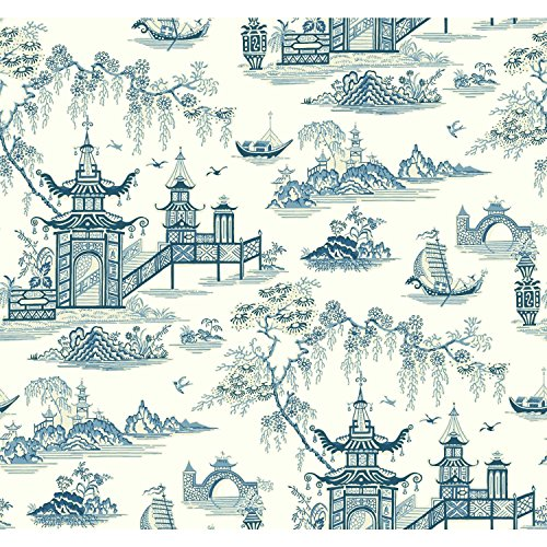 - York Wallcoverings Waverly Classics II Peaceful Temple Removable Wallpaper, Blues