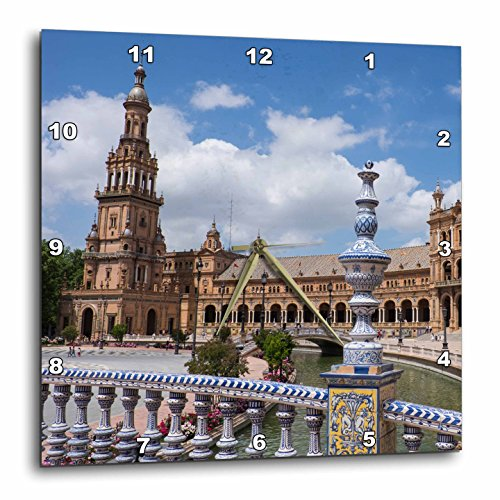 3dRose Danita Delimont - Spain - Spain, Andalusia, Seville. Plaza de Espana scenic. - 13x13 Wall Clock (dpp_277897_2) by 3dRose