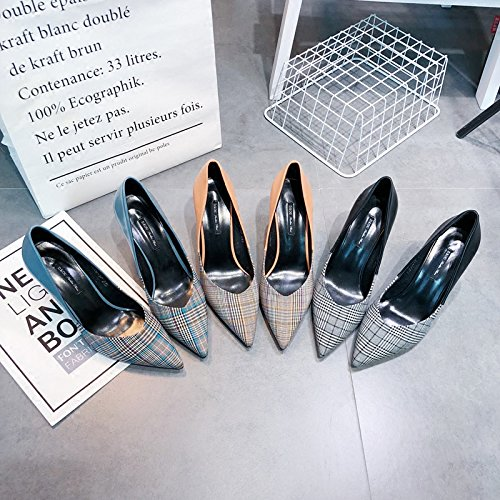 le prodotti elegante heeled europei scarpe shoes plaid high acuto sottile 35 blu i sexy cucitura superficiale ZHANGJIA tSwd1Cxqt