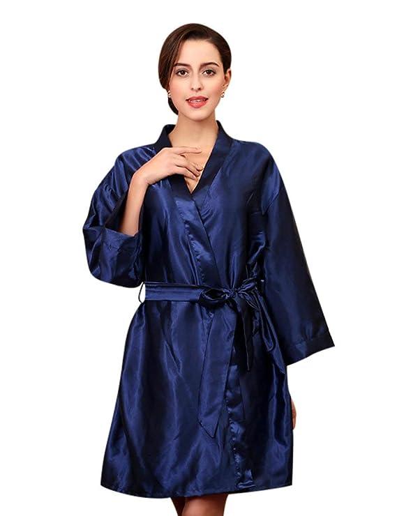 Mujer Albornoz Verano Satín Sólidos Elegantes Batas Colores Moda Bonita Modernas Casual Moderno Camisones Manga Larga V-Cuello con Cinturón Kimono Pijamas ...