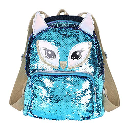 Girls Shiny Glitter Reversible Sequin Fashion Mini Backpack For Travel, Camp, School (Owl) -