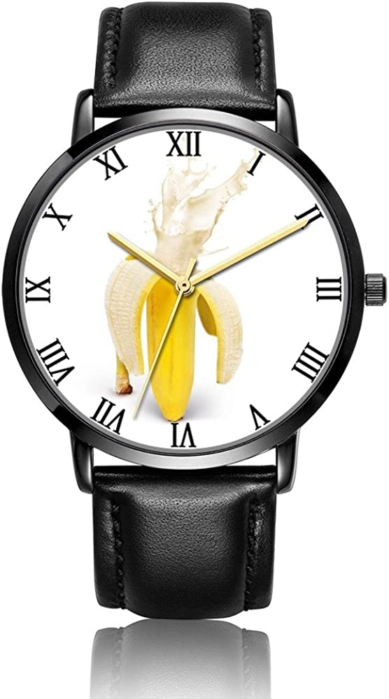 Custom Aviator Quartz Black Dial Classic Watch Black Leather for Men and Women