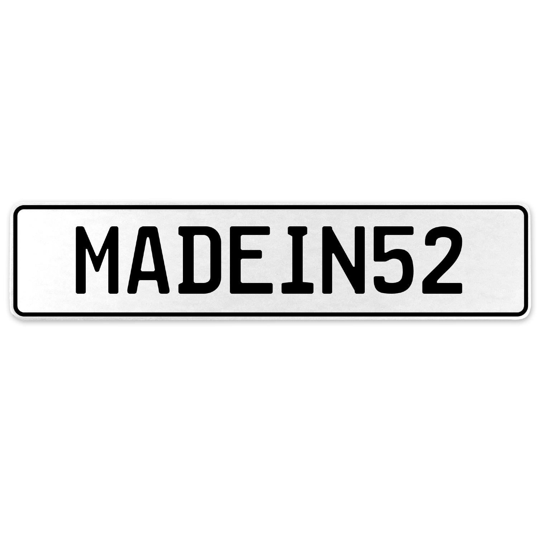 Vintage Parts 555540 MADEIN52 White Stamped Aluminum European License Plate